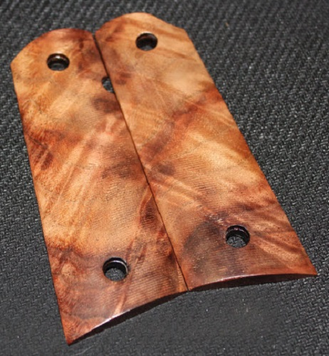 102_69A 1911 Fullsize Exotic Maple Burl Stabilized Magwell Grips