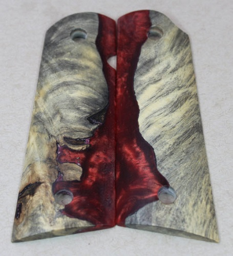 5412 Genuine Box Elder Burl with Red / Silver Epoxy Filled Highlighting Magwell