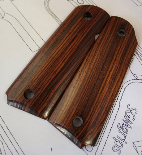 75010 Exotic High Color Mexican Cocobolo Gov't Magwell Grips