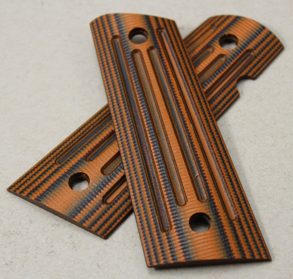 9039  -  Larry Davidson Slim 1911 Government 4X4 Grips-black-orange G-10